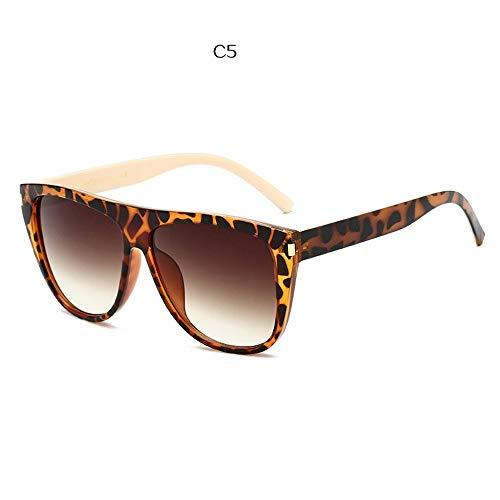 QDE Sonnenbrillen Luxury Sunglasses Women Oversized Gradient Sunglasses Men Vintage Flat Top Eyewear Uv400 Black Frame,D