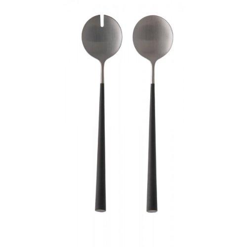 ASA 32018950 Noor Couverts à salade en acier inoxydable/plastique, argent/noir, 28 x 3 x 3 cm