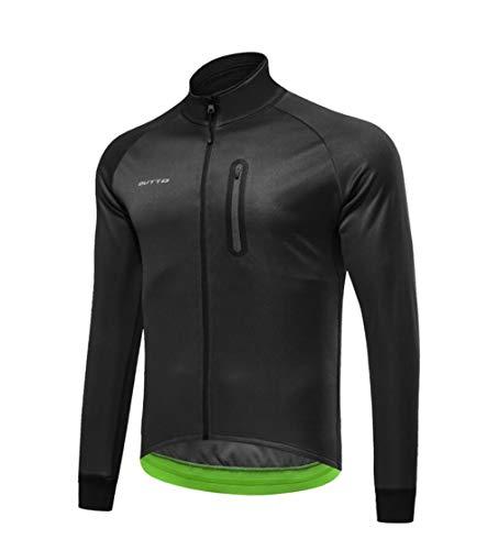 DUBAOBAO Radjacke, Herren Winter Fleece Reitjacke, Winddicht, Winddicht, warm, für Damen und Herren geeignet,Black,XXXL