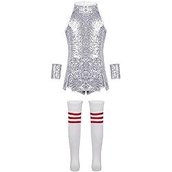 Agoky Vêtements de Sport Enfant Fille Robe de Danse Jazz Hip Hop Cheerleaders Performance Costume de Danse Moderne Tenue Noël Carnaval Fête Survêtement Dancewear Sequins Argenté 10-12 Ans
