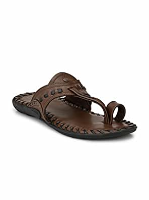 Alberto Torresi Men's Dark Brown+Black Hawaii Thong Sandals-6 UK/India (40 EU) (59264)