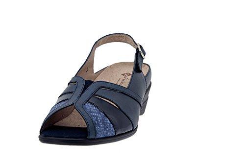 Chaussure femme confort en cuir Piesanto 4156 sandale semelle amovible comfortables amples Marino