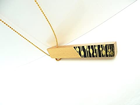 Handmade Rectangles Gold Drip Strip Gold Kugelkette Unikat in Geschenkbox