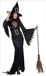 Preisvergleich Produktbild Hendbrandt - Erwachsenen Halloween Kostüm Erschreckend Böse Schwarze Hexe Verkleidung