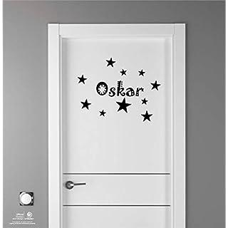 Artstickers Kinder Aufkleber für Möbeldekorationen, Türen, Wände. Name: Oskar, In Schwarz, der Name in 20 cm + Zehnerpaket Sterne für freie Anbringung.