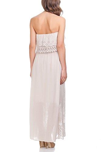 Laura Moretti - Kleid mit gestickten ethnischen Details Beige