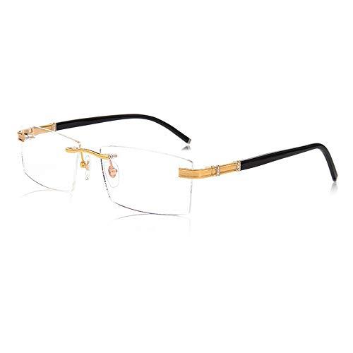 D&XQX Rahmenlose Lesebrille Smart Zoom Fern und Nah Dual-Use-Business-Brille aus reinem Titan mit Mehrfokus. Blaulichtblockierende Lesegeräte mit Brillenetui und tragbarer Lupe,+2.00