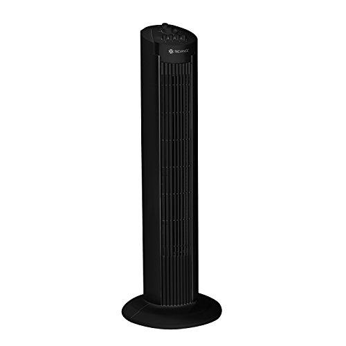 Tecvance Säulenventilator, Turmventilator in schwarz| 90° Oszillierender Ventilator mit 3 Geschwindigkeitsstufen | Tower-Ventilator mit Timer mit Zeitschalter von 0 - 120 min