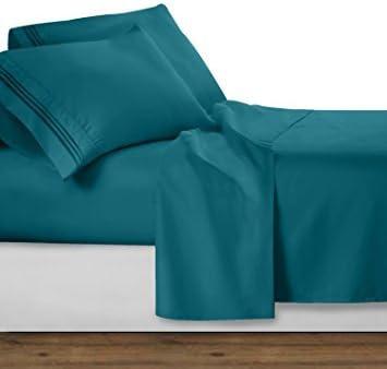 Sheets&More Set di Lenzuola 4 Pezzi – Ikea - 550 Fili. Teal Solid Euro Double Ikea – 100% Cotone Egiziano Extra Tasca Profonda (18 Pollici) spedizione Gratuita d9e3c7