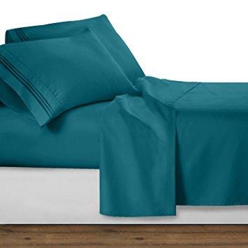 Sheets&More Heavy 550tc Tissu 1pièce Tour de lit --Bleu Sarcelle Solide Euro Double IKEA 100% Coton égyptien Poche Profonde supplémentaire (15 :) Livraison Gratuite