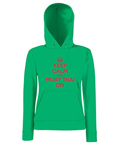 T-Shirtshock - Sweatshirt a capuche Femme OLDENG00845 keep calm muay thai Vert