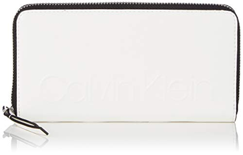Calvin Klein Damen Edged Large Ziparound S Geldbörse, Weiß (Bright White), 10x2.5x19 cm