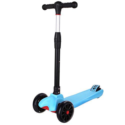WeSkate MG3 Kinderscooter Kinderroller, höhenverstellbarer und faltbarer Kick Roller Tret-Roller mit PU Rädern, mit 4-blinkenden Rädern, 2-Rädern Hinterbremsen, speziellem Faltsystem, die Verdickung von den Rädern und dem Trittbrett