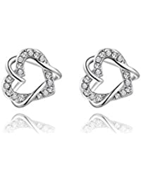 Silver Shoppee 'Valentine Special' High Quality Genuine Austrian Crystal Studded Sterling Silver Earrings for Girls and Women