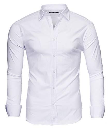 extra slim fit hemden Kayhan Uni Langarmhemd, Weiß (L)