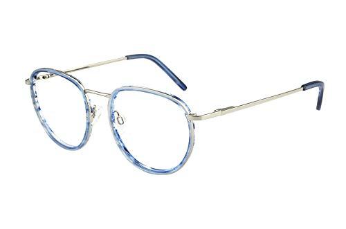 Edison & King Panto, Retro: Gil - die stylische Lesebrille mit Premiumgläsern (blau-Silber, 2,50 dpt)