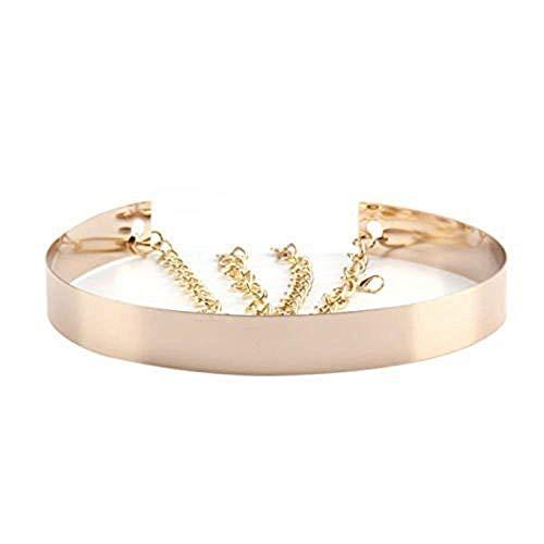 Cinturón de cintura de metal para mujer Espejo ancho Oro Dorado Plata Plateado Cadena llena Cadenas de pretina (2cm, Dorado)