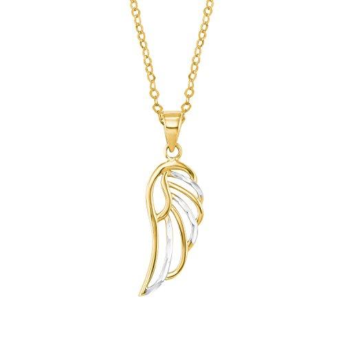 amor Damen-Halskette mit Flügel-Anhänger bicolor aus 585er Gelbgold