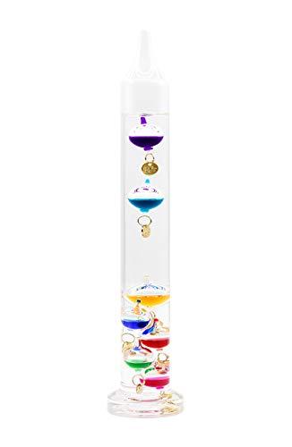 UFelice 30cm Galilei Thermometer, Glas Galileo Thermometer, Wettervorhersage, Glas Barometer für Raumschmuck und Desktop Dekoartikel
