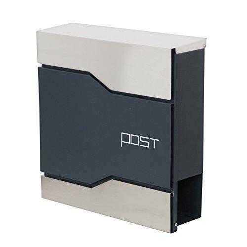 LZQ Modern Neu Design-Briefkästen anthrazit mit zeitungsrolle Edelstahl Postkasten Wandbriefkasten mailbox mit zeitungsfach (Modell Ⅰ,C)