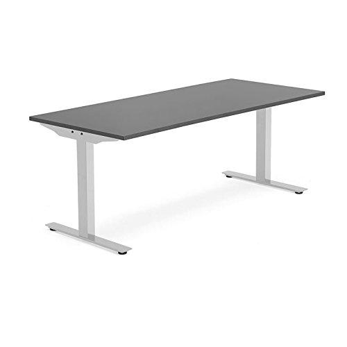 AJ Produkter AB 1610324 Modulus Tisch, T-Beine, 1800 mm x 800 mm, Silber/Schwarz