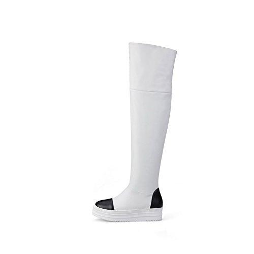 AllhqFashion Damen Mittler Absatz Überknie Hohe Stiefel Gemischte Farbe  Ziehen Auf Stiefel Weiß ...