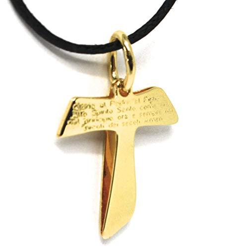 Anhänger Kreuz Gold Gold 750 18K TAU FRANCESCANO, DOPPEL LASTRA, PREGHIERA INCISA MADE IN ITALY