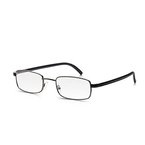Read Optics Brille mit Metall-Rahmen: Für Lesen und Nahansichten, ohne Verschreibung. Vintage Design für Herren/Damen in Grau und Schwarz. Hochwertige Premium DifuzerTM Gläser in Stärke +1,0 bis +3,5