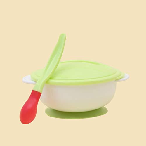 Bebé Vajilla Vajilla Ventosa Recién nacido Recién nacido Comida para bebés Cuencos de alimentación para bebés Platos que alimentan Bebés Comedores con cuchara - Verde y blanco
