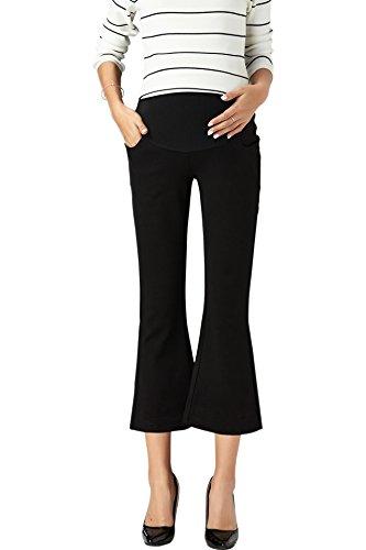 KINDOYO Damen Beiläufig Sommer Mode Umstandskleidung Umstandshose Elastizität Hohe Taille Schwangerschaft Flares Hosen, Schwarz/XL