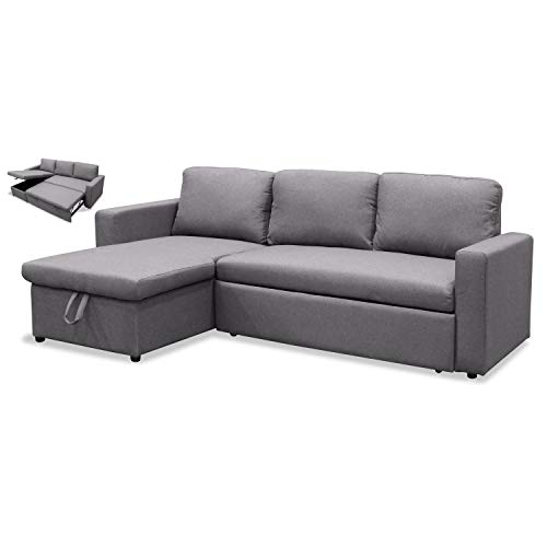 Muebles Baratos Sofa Cama con Chaise Longue, Subida Domicilio, Color Gris, ref-108
