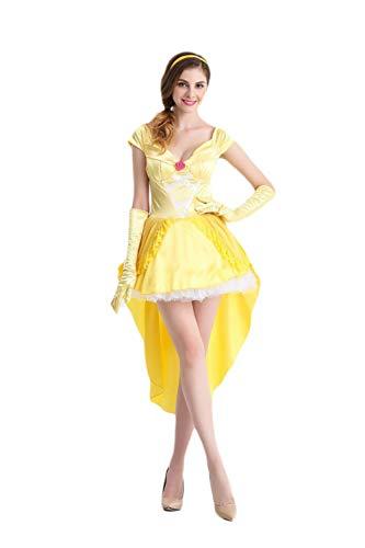 Taigood Womens Cosplay Kleid Beauty and The Beast Bell Prinzessin Kostüm Kostüm Gelb M - Beast Cosplay Beauty