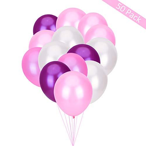 TankerStreet - Globos de látex redondos para boda romántica, aniversario, novia, cumpleaños, fiesta, decoración de 22 x 17 cm, tamaño completo, color blanco/rosa/rosa claro/rosa