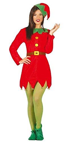 Damen Sexy Weihnachten Santa's Helfer Elfen Kostüm Kleid Outfit UK 12-14 16-18 - Rot, UK 16-18