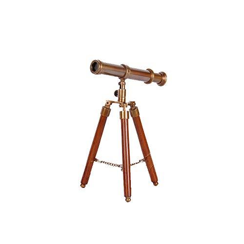 Waj Europäische Amerikanische Reine Kupfer Antike Vintage Messing Massivholz Stativ Teleskop Französisch Weiche Ornament Ornamente Klein,A,Fernrohr - Antikes Messing Stativ