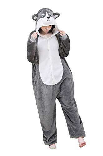 URVIP Neu Unisex Adult Pyjama Cosplay Tier Onesie Body Nachtwäsche Kleid Overall Animal Sleepwear Schlafanzug mit Kapuze Erwachsene Cosplay Kostüm Grau-Husky-02 L