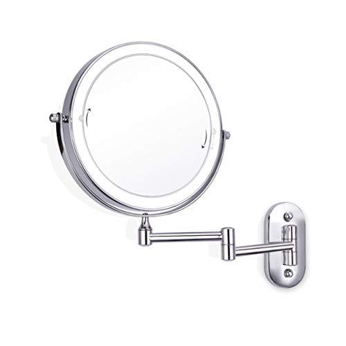 ALYR LED Beleuchtung Make-Up-Spiegel, Doppelseitig Wand Kosmetikspiegel 10 X Vergrößerung Schminkspiegel Ausziehbaren Kosmetikspiegel für Hotels mit Bad,Silver - Doppelseitige, Beleuchtete Make-up-spiegel