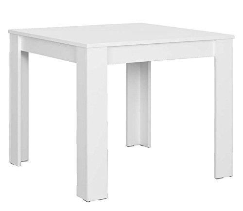 CAVADORE Tisch NICK/kleiner, praktischer Küchentisch 90 x 90 cm aus Melamin Weiß/Esstisch in weiß/Resistent gegen Schmutz/90 x 90 x 75 cm (L x B x H) (Weiß Holz Quadratischen Tisch)