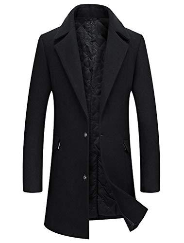 Wolle Barn Mantel (Mordenmiss Herren schlank wollmantel Business französisch Trenchcoat unten Jacke Outwear lang x-Large schwarz)