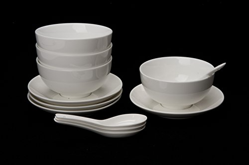 4 x Suppenschale aus Porzellan / Müslischale / Reisschale Schale Schüssel mit Unterteller und Löffel