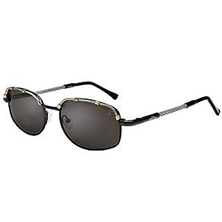 Xezo Airman-Polarisierte Einwegspiegel-Sonnenbrille aus Titan und Kabeldraht,Antireflex-Beschichtung und Goldverzierungen