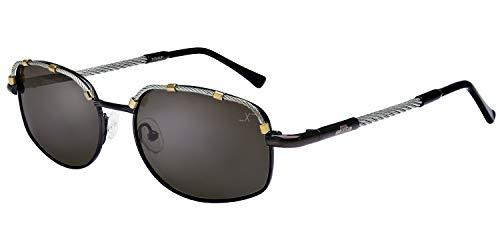 Xezo UV 400Titan Polarisierte Aviator Brille mit Stahl Kabel Draht, dunkelblau grau metallic, 1oz