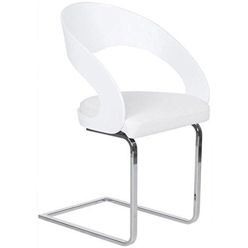MK Chaise Design LOING en Bois laqué et Simili Cuir (Blanc)