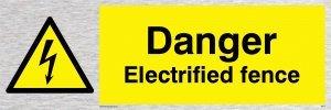 """Viking Schilder we77-l31-ms """"Gefahr elektrisierte Zaun"""" Sign, marine Grade Edelstahl, 100mm H x 300mm W"""