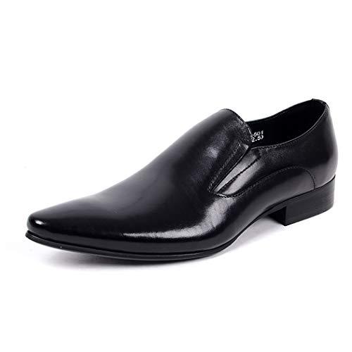 LYMYY Herren Casual Lederschuhe Spitz Klassische Formale Kleid Schuhe Slip-On Arbeits Business Schuhe Driving Müßiggänger,Black,41EU -