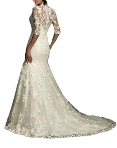 YAONAI Frauen V-Ausschnitt Brautkleider, Spitze Appliques Mermaid Brautkleid, Wedding Party Sweep...