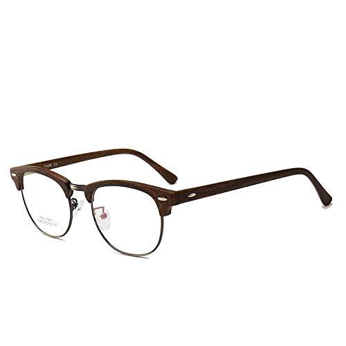 Männer Frauen Mode Retro Frame Plain Glass Spectacles C9 Holzmaserung