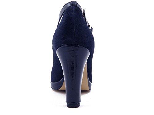 OSVALDO PERICOLI Decolletè con Cinturino Alla Caviglia in Camoscio Blu Scuro, 014BL Blu scuro