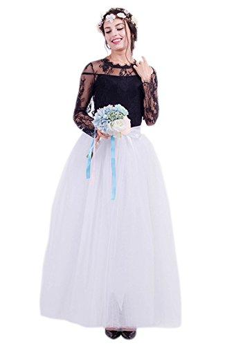 Diy Kostüme Elsa Anna Und (Honeystore Damen's Tüllrock Lang 5 Layer Prinzessin Kleider Lang Petticoat Ballettrock Maxi Unterrock Pettiskirt Lang One Size)