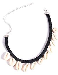 idealway Bohemain Beach Gyspy Natural Shell Tassel Choker Necklace